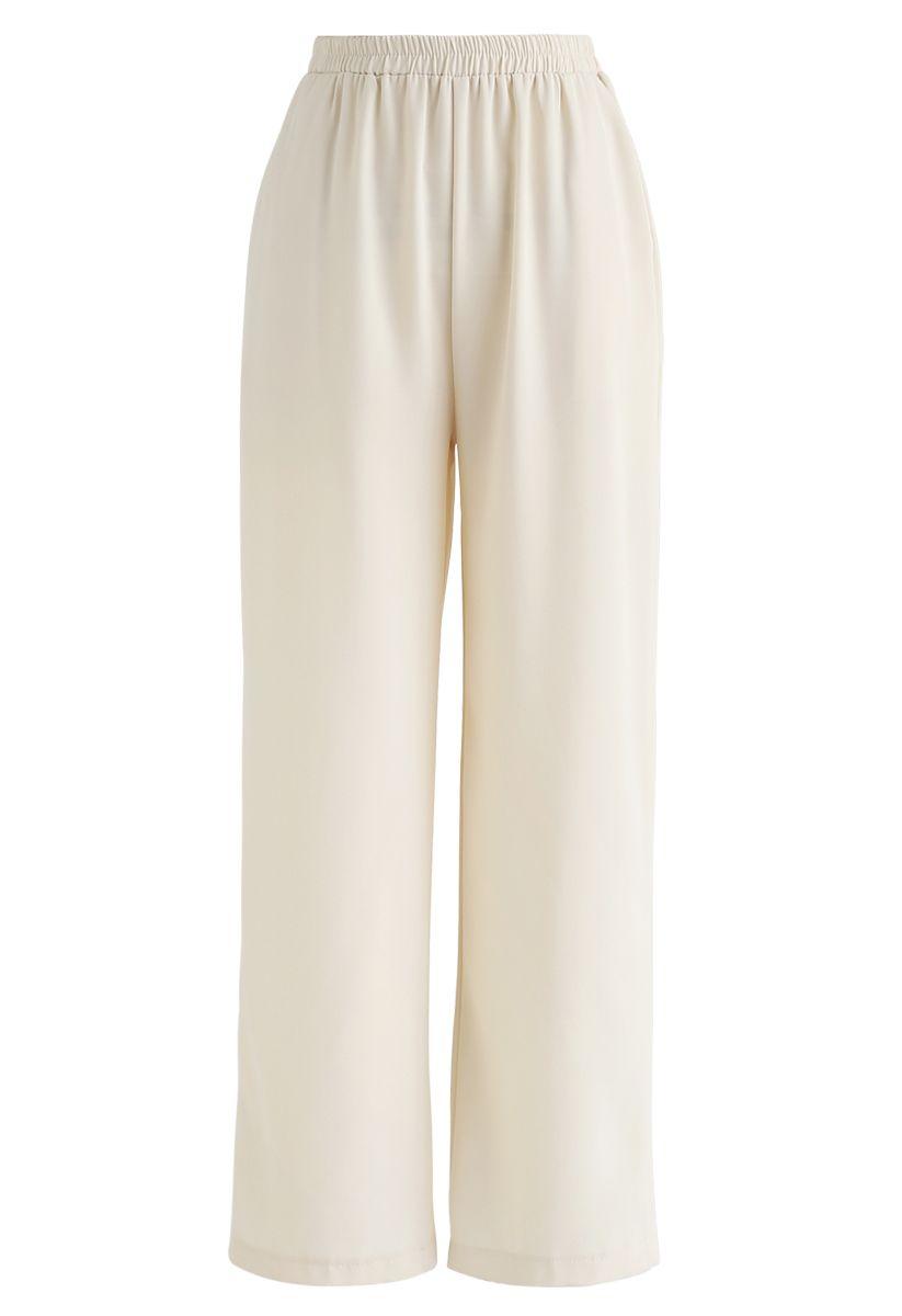 Adjustable Cami Tank Top and Wide-Leg Crop Pants Set in Cream
