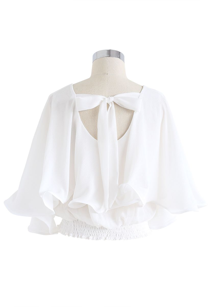 Butterfly Flare Sleeves V-Neck Crop Top in White