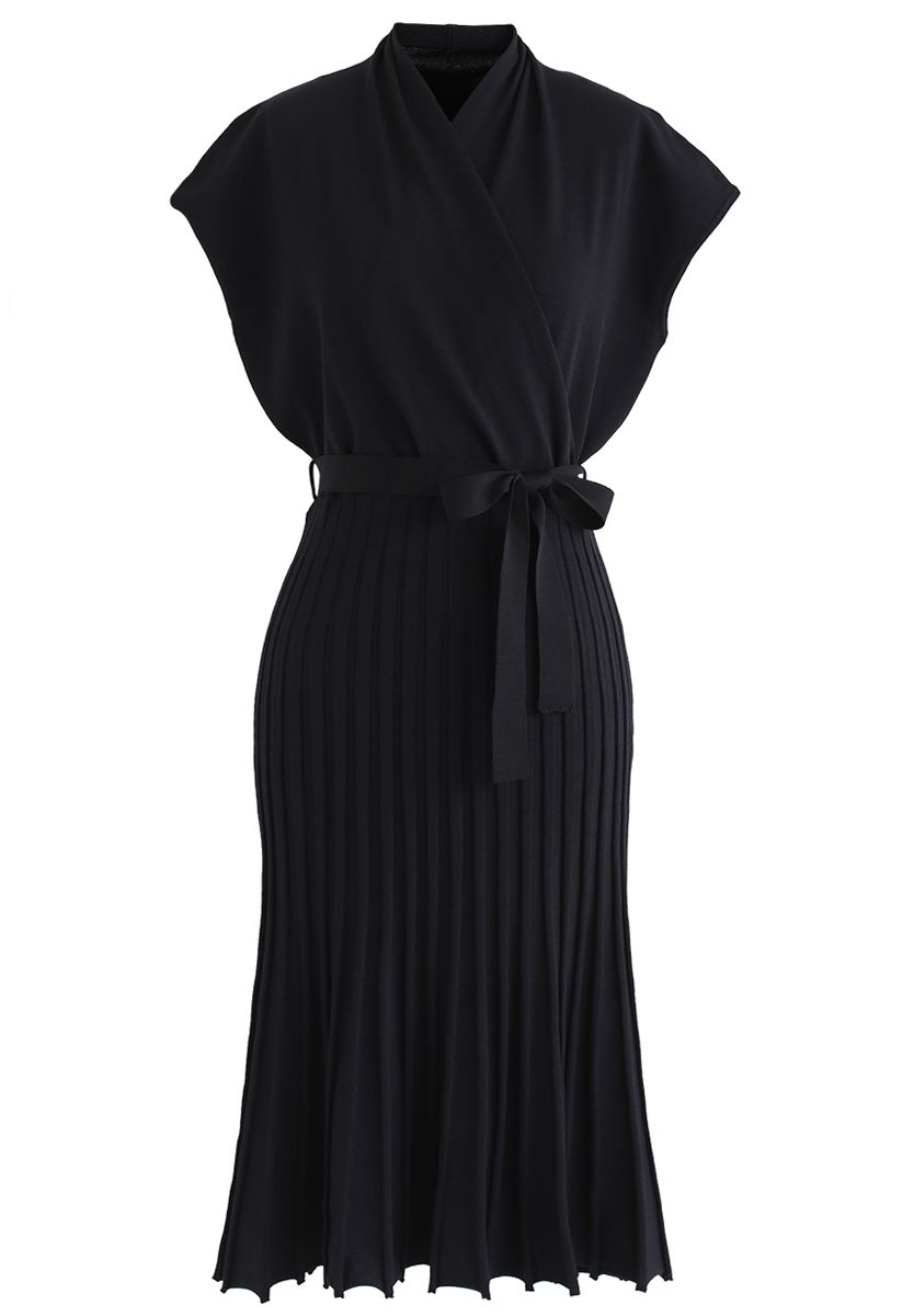 Pleated Sleeveless Wrapped Knit Dress in Black