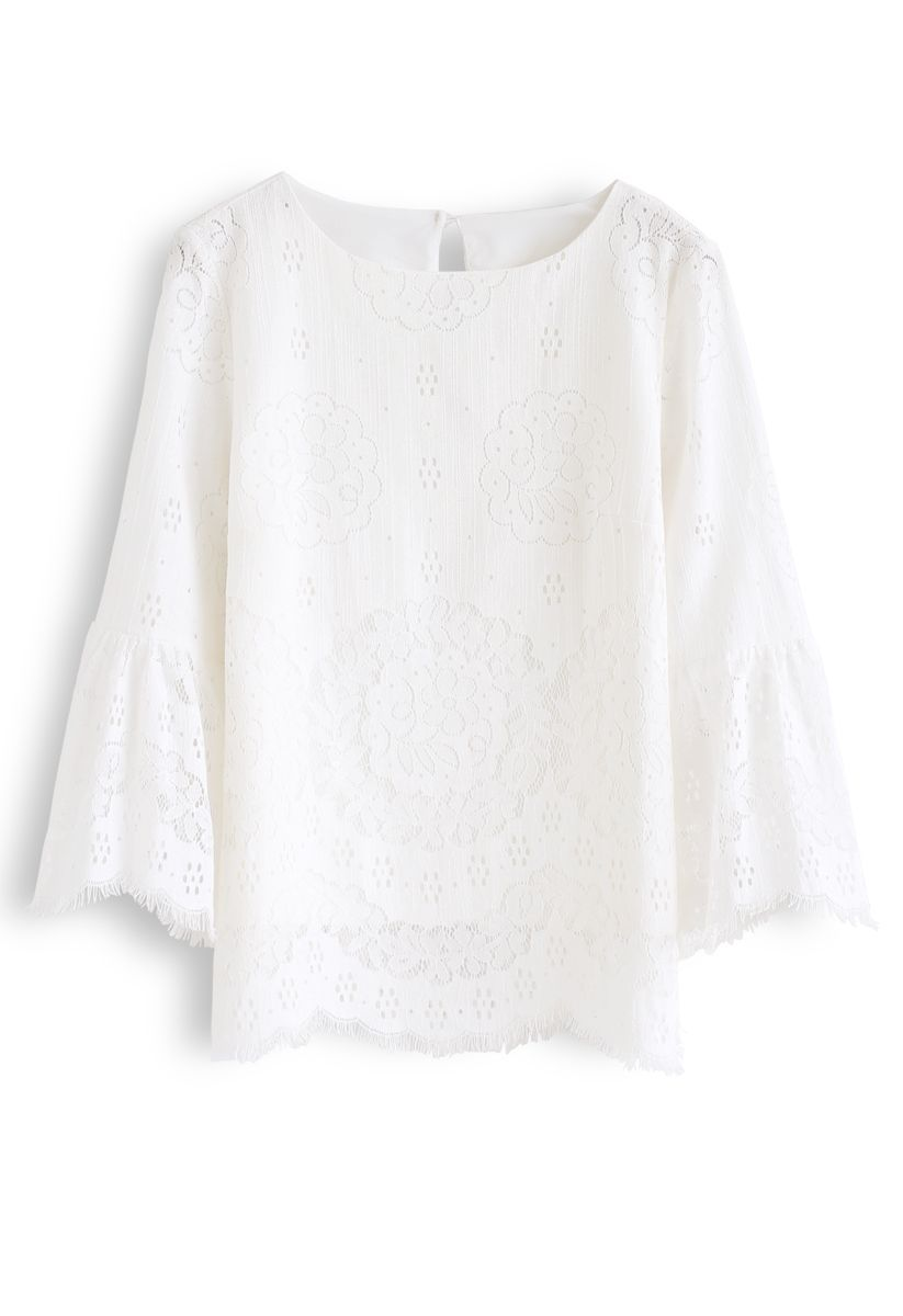 Full Floral Lace Bell Cuffs Top