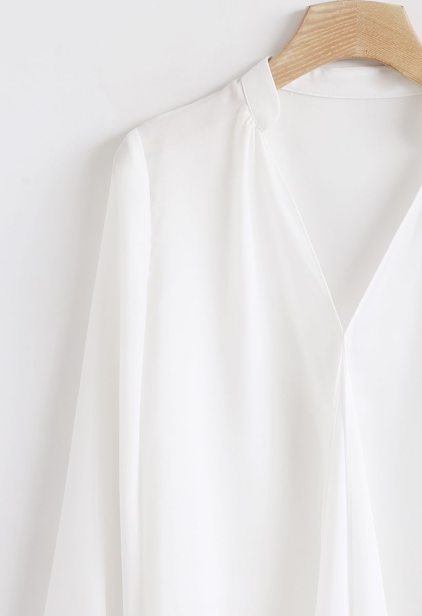 Front Ruffle V-Neck Shirt in White
