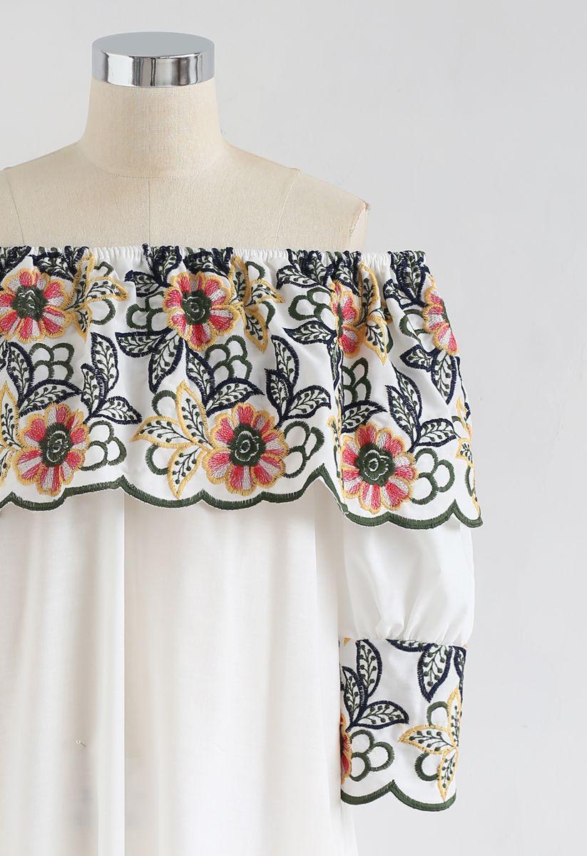 Exuberant Floral Embroidery Off-Shoulder Top