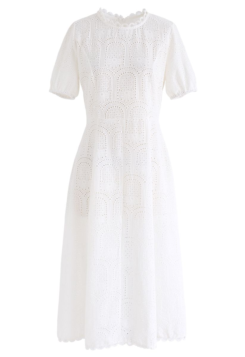 Inverted Tracery Eyelet Embroidered Midi Dress