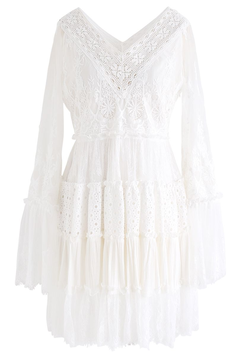 Delicate Full Lace Bell Sleeves Mini Dress