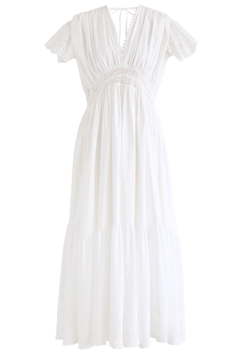 Frill Hem Plunging V-Neck Sleeveless Maxi Dress in White