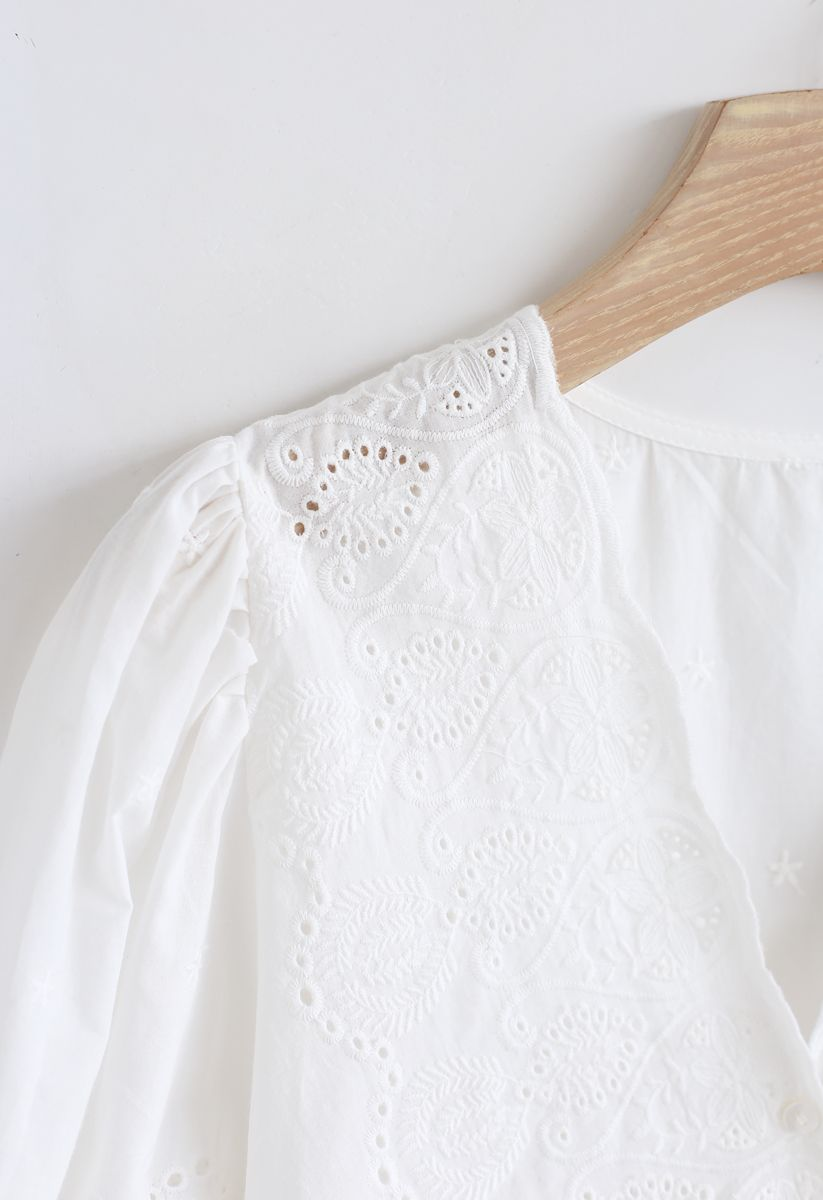 Slanted Embroidery Button Down Top in White