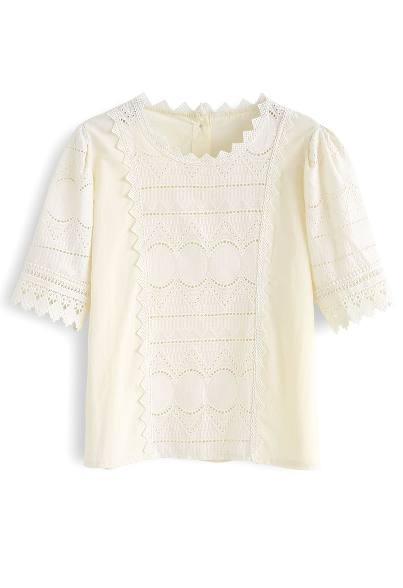 Zigzag Crochet Embroidery Button Down Top in Cream