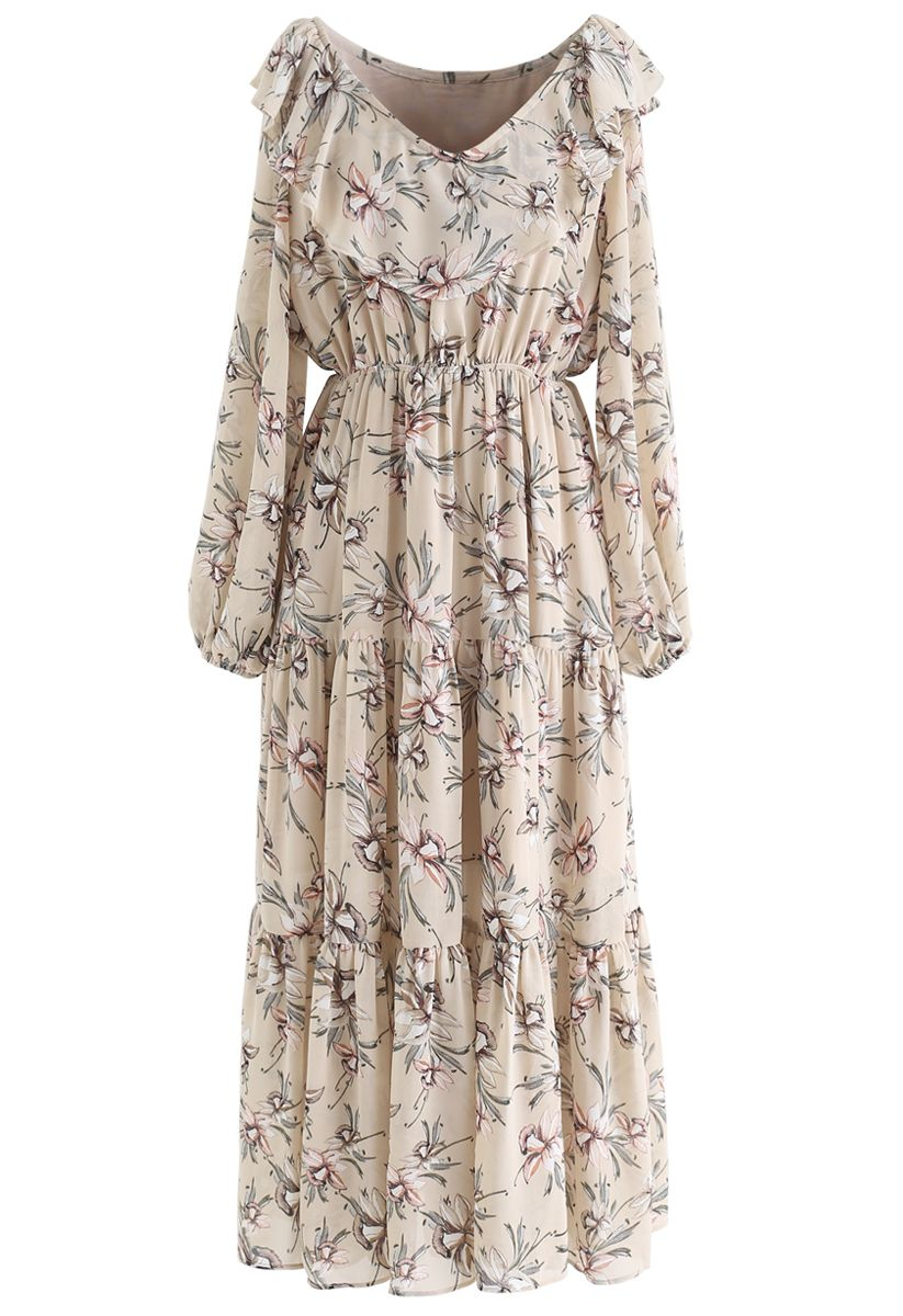 V-Neck Floral Print Frilling Chiffon Dress