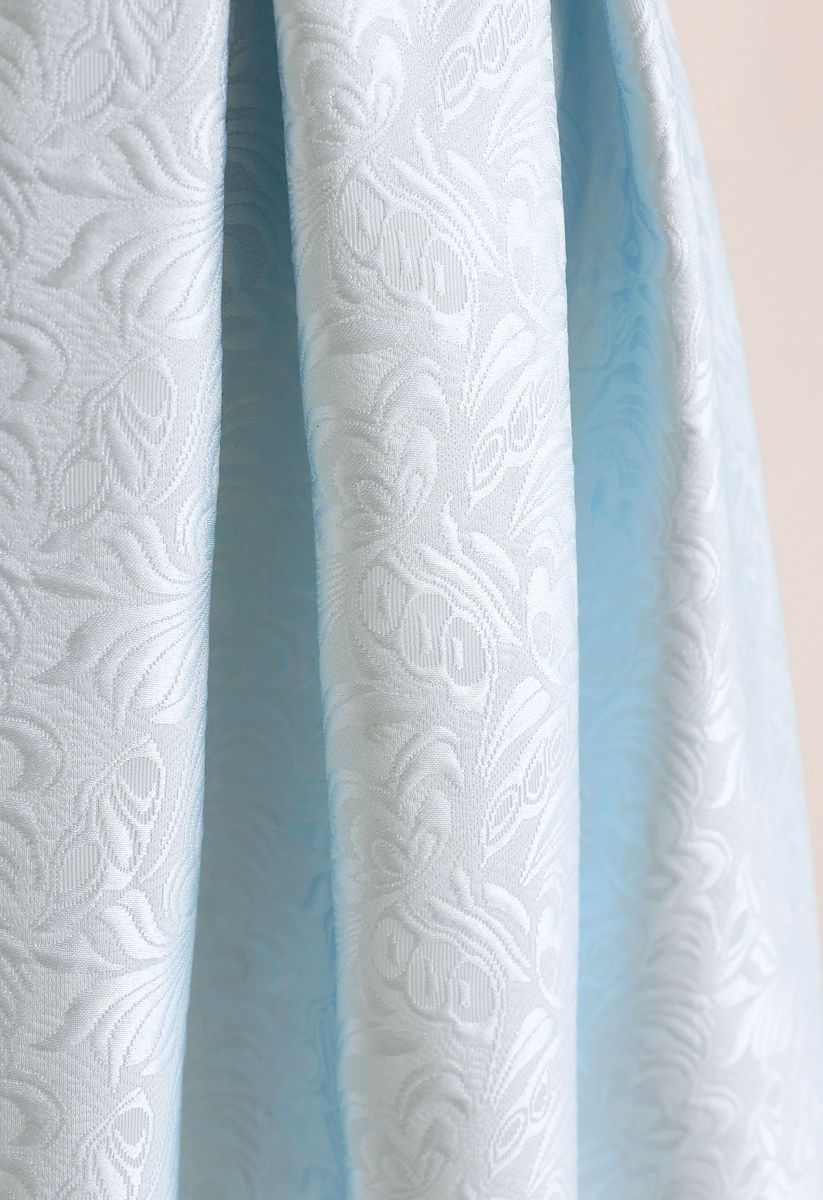 Bowknot Pleated Jacquard Midi Skirt in Baby Blue