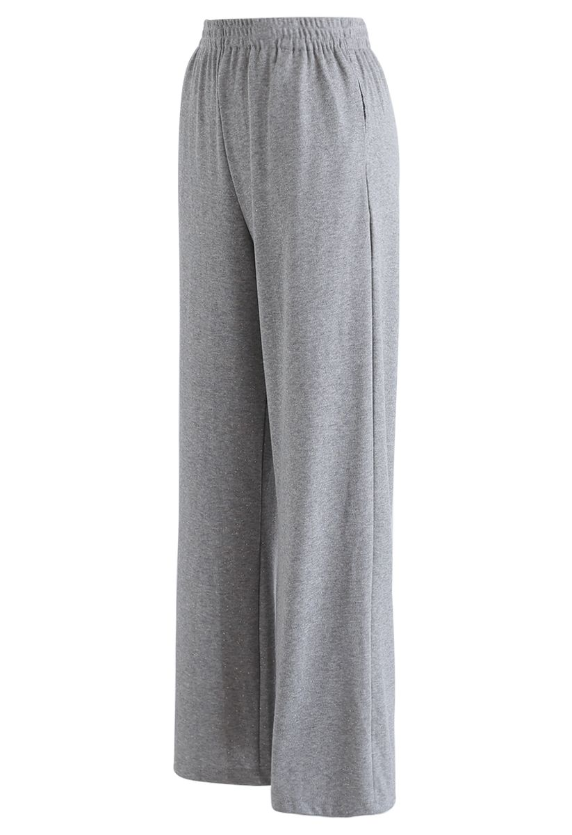 Sparkly Wide-Leg Full-Length Pants in Grey