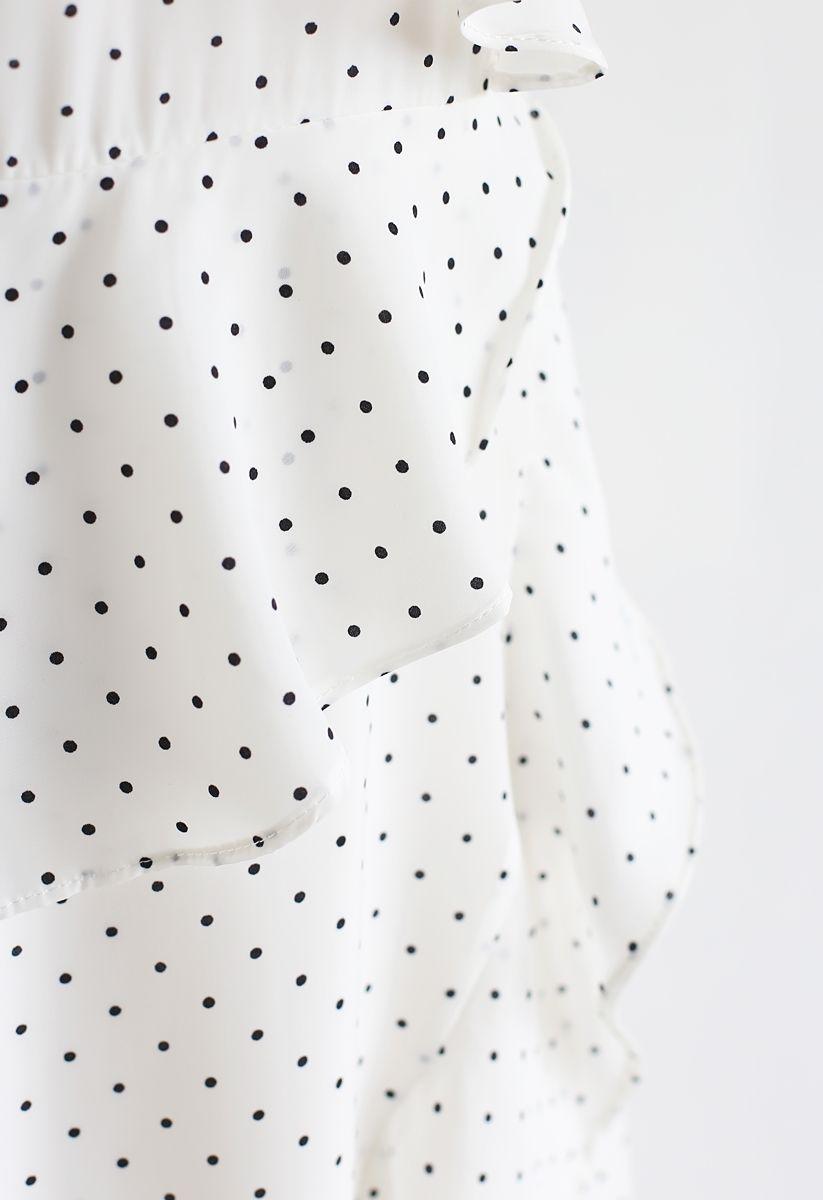 Dots Ruffle Asymmetric Midi Dress in White
