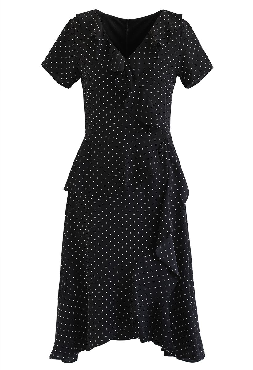 Dots Ruffle Asymmetric Midi Dress in Black