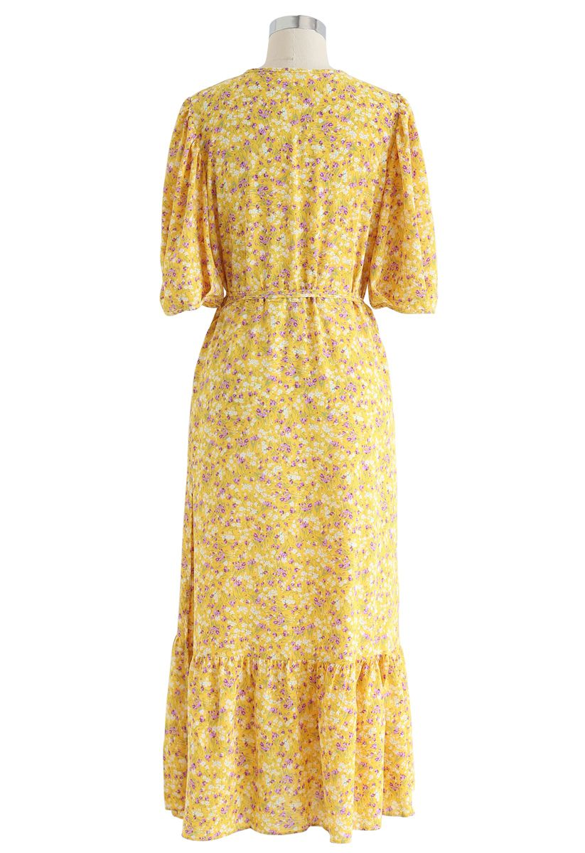 Allured Floret Wrapped Dress in Mustard