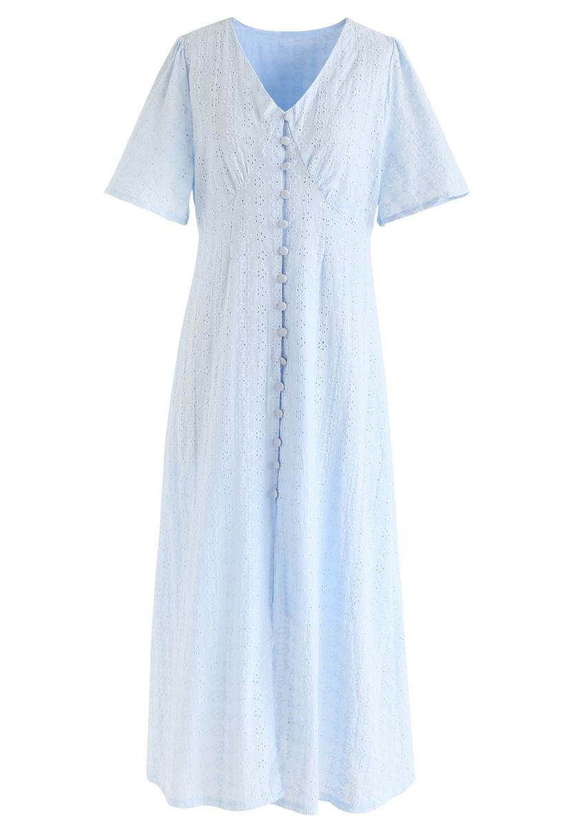 Eyelet Embroidery Button Down Dress in Baby Blue