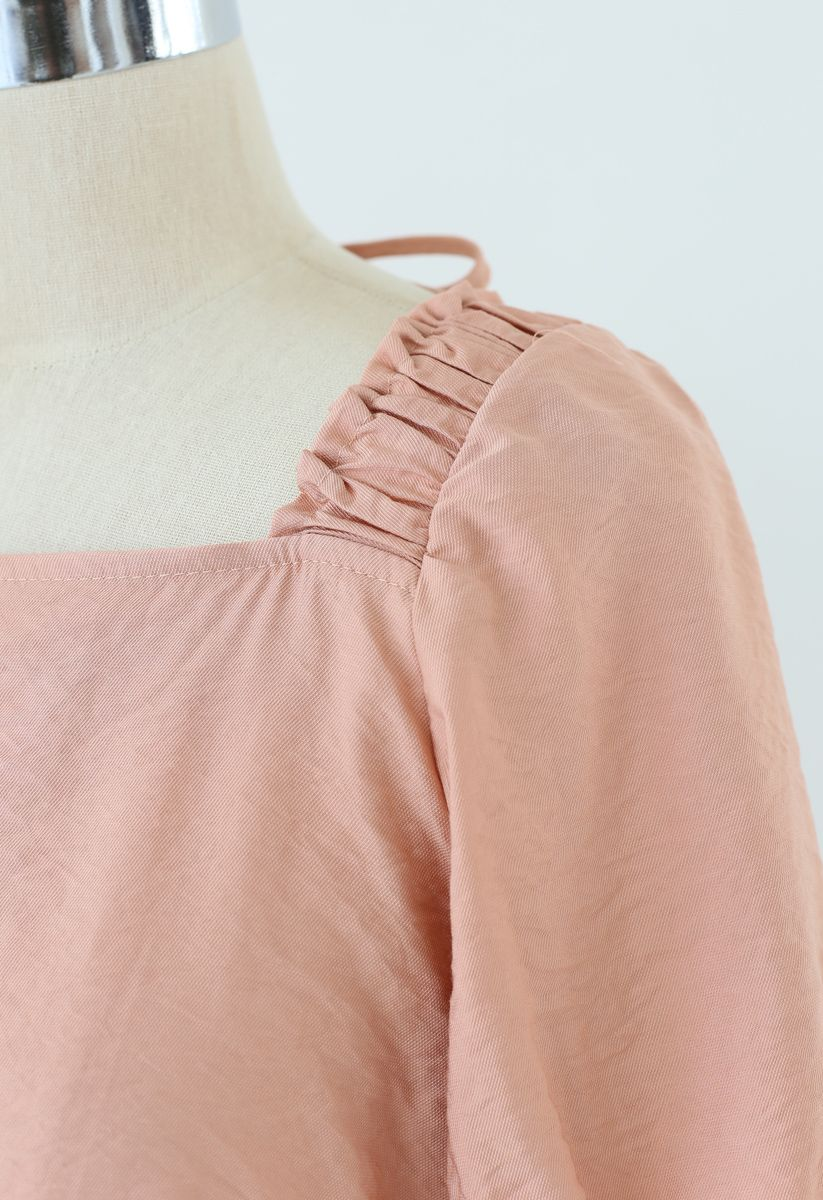 Button Embellished Square Neck Crop Top in Coral