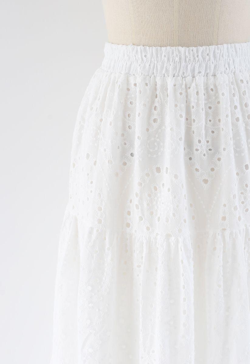 Frill Hem Broderie Cotton Midi Skirt in White