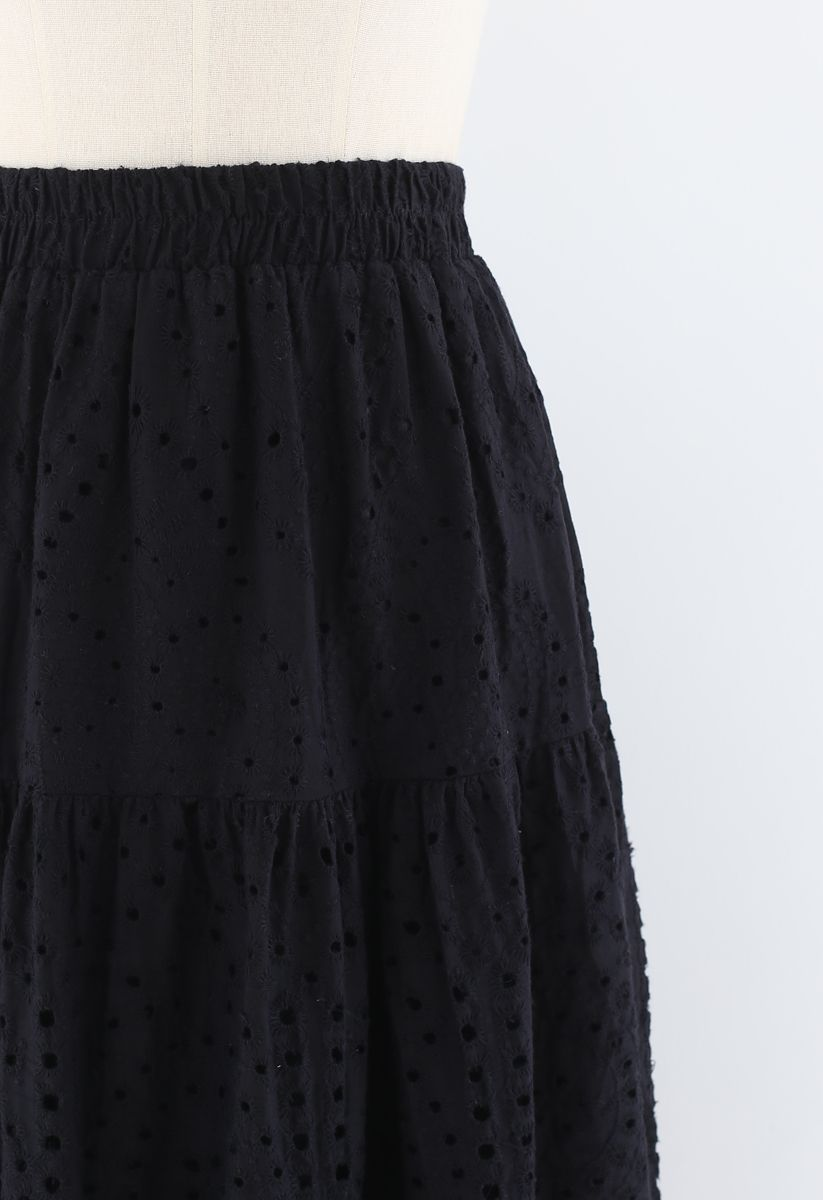 Frill Hem Broderie Cotton Midi Skirt in Black