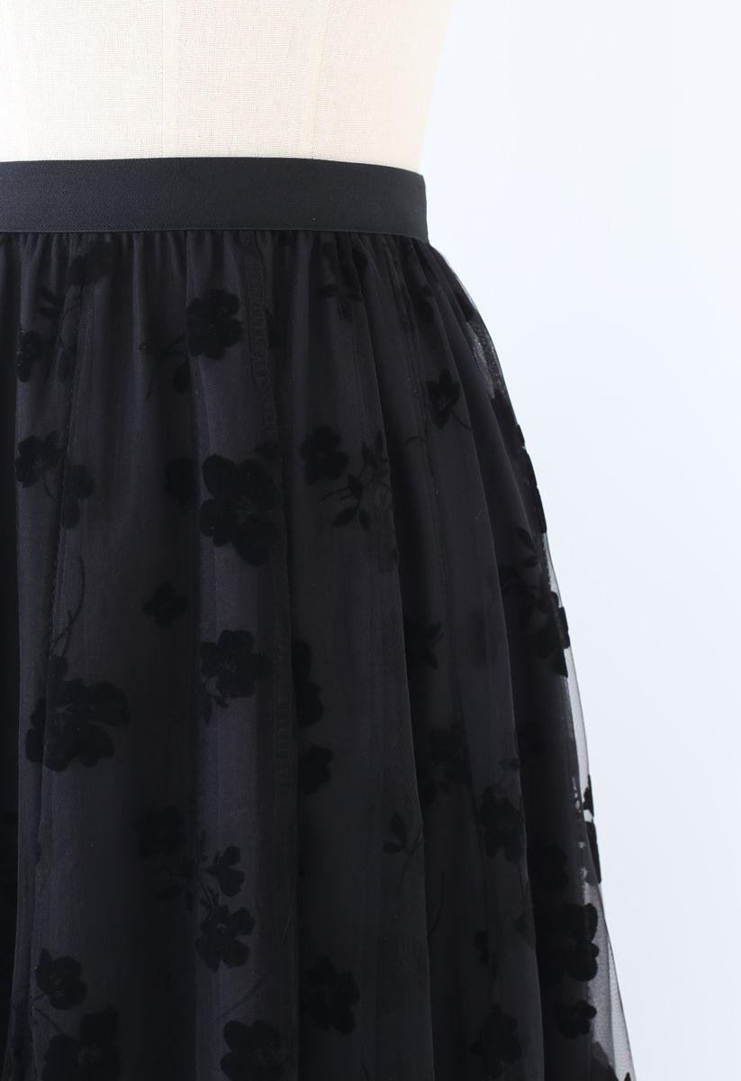 3D Posy Double-Layered Mesh Midi Skirt in Black