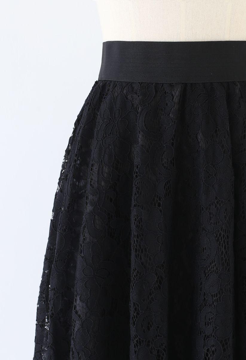 Full Floral Lace Midi Skirt in Black