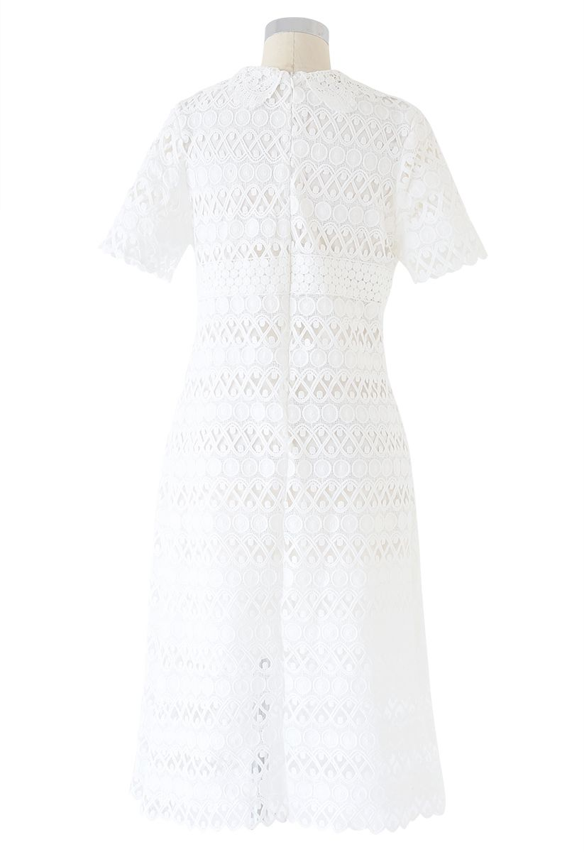 Full Circle and Wavy Lines Crochet Dress in White