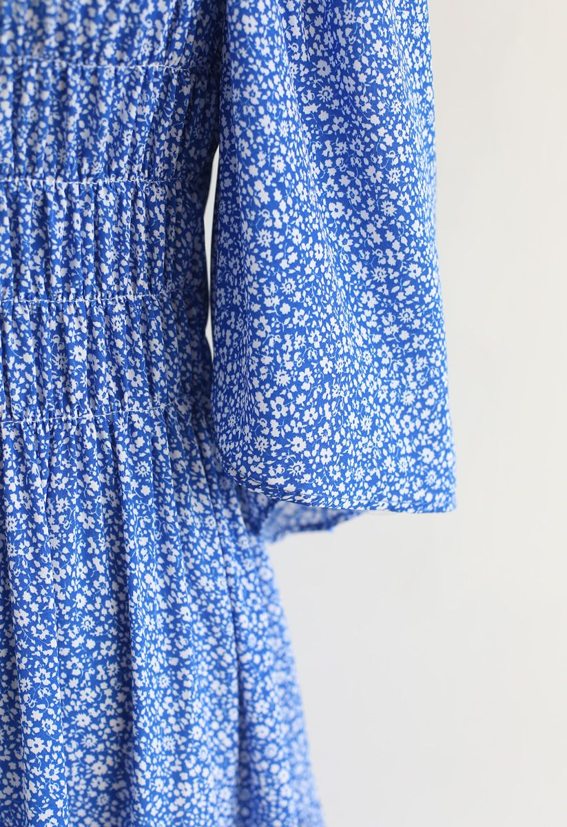 Richly Floret Dots Shirred Maxi Dress in Blue