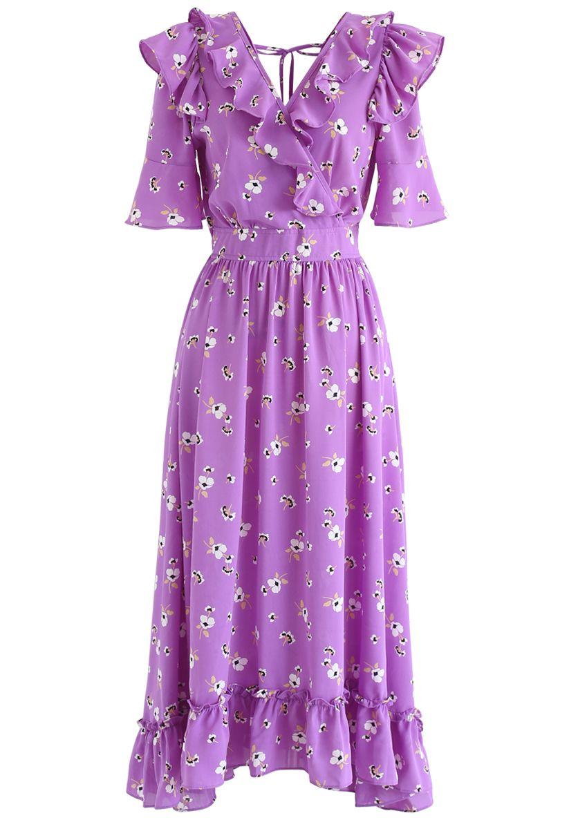Aflutter Bouquets Print Wrap Maxi Dress in Purple
