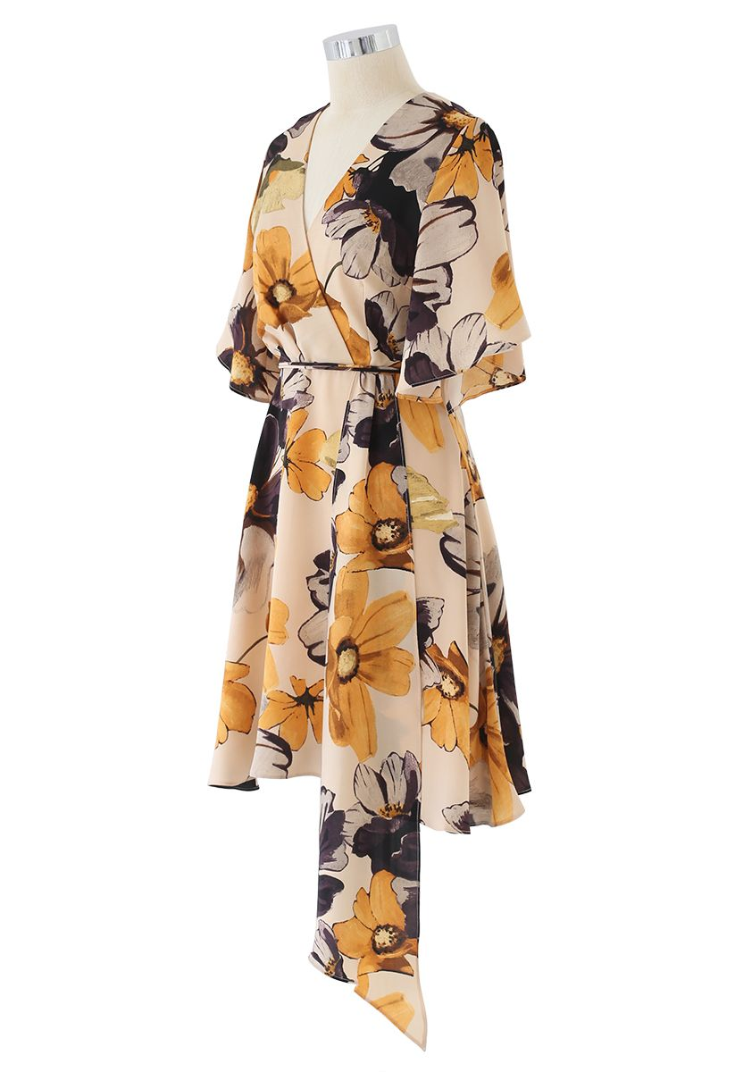 Yellow Floral Print Watercolor Wrap Midi Dress