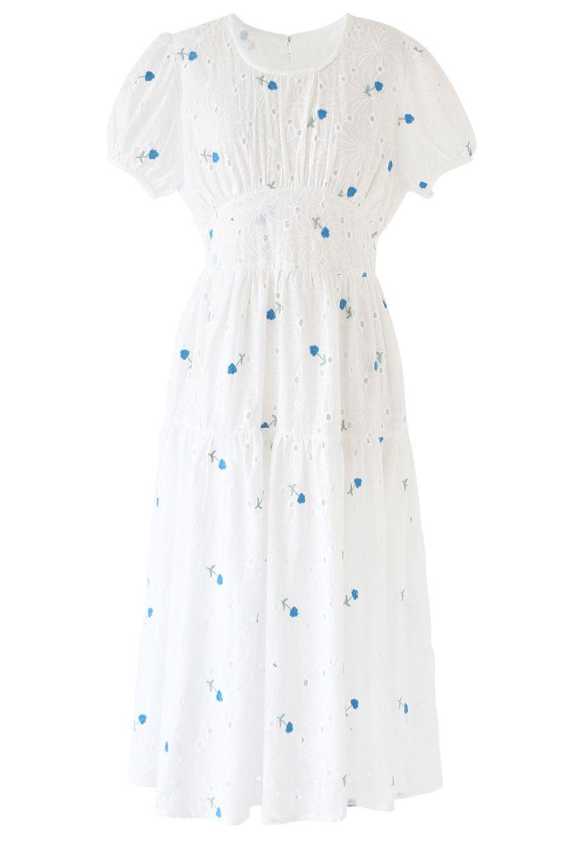 Blue Posy Embroidered Eyelet Midi Dress