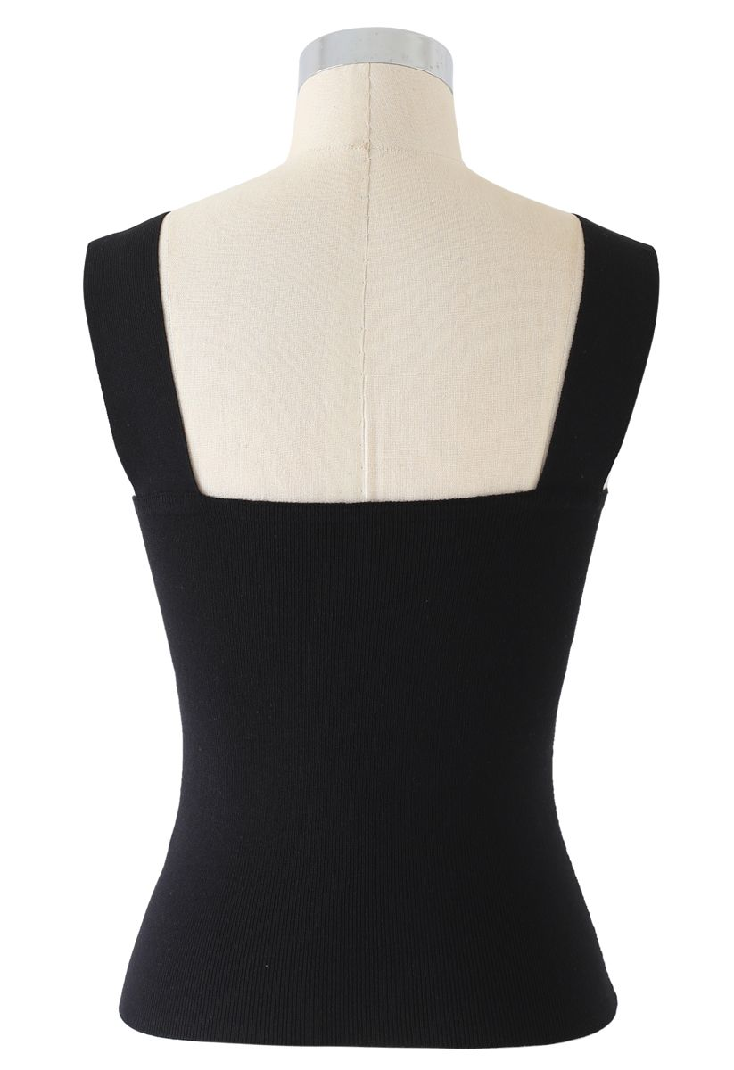 Twist Bust Ribbed Knit Cami Top in Black