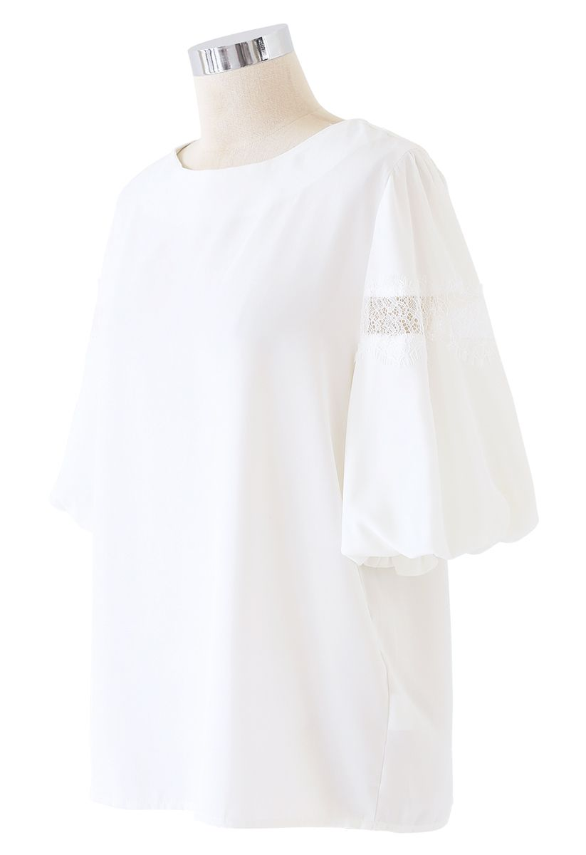 Lace Trim Bubble Sleeves Top in White
