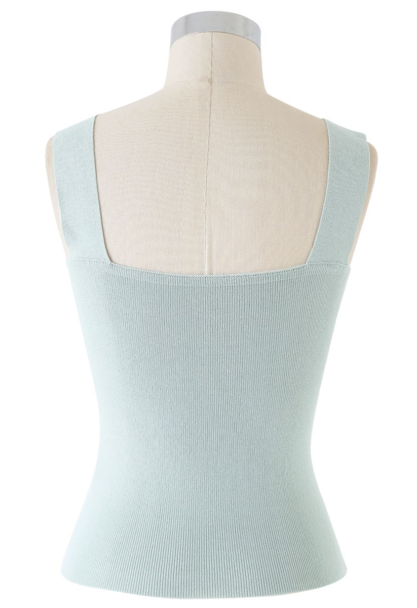 Twist Bust Ribbed Knit Cami Top in Pea Green