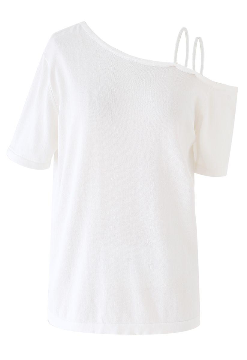 Cold-Shoulder Short-Sleeve Knit Top in White