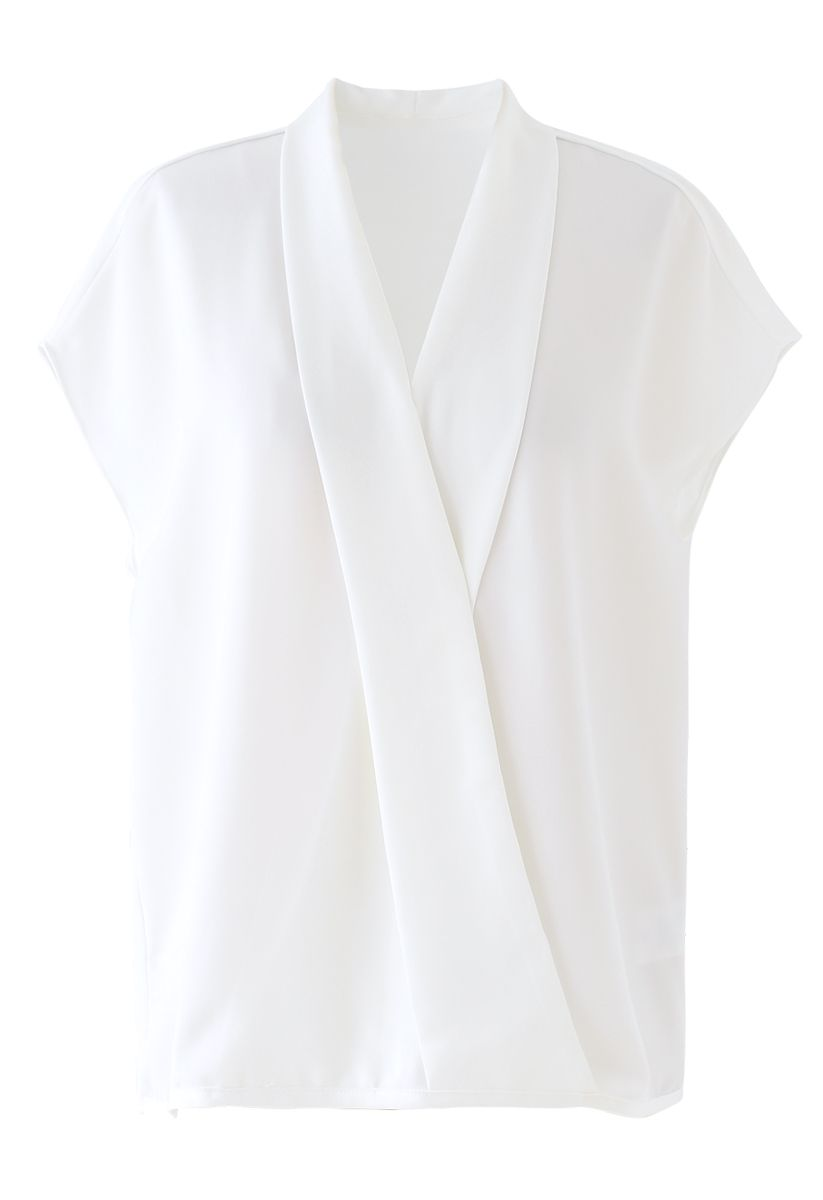 Satin Surplice Neck Sleeveless Loose Top in White