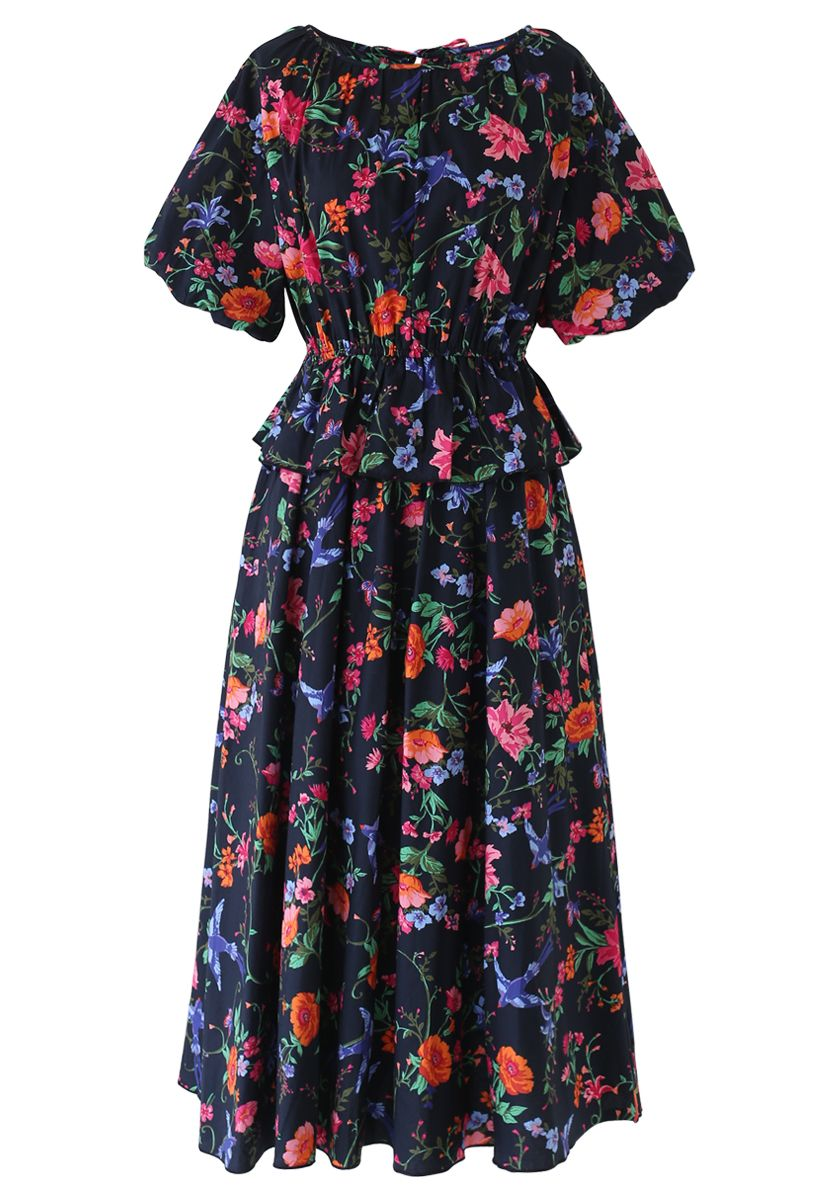 Flower and Swallow Print Puff Sleeves Midi Dress