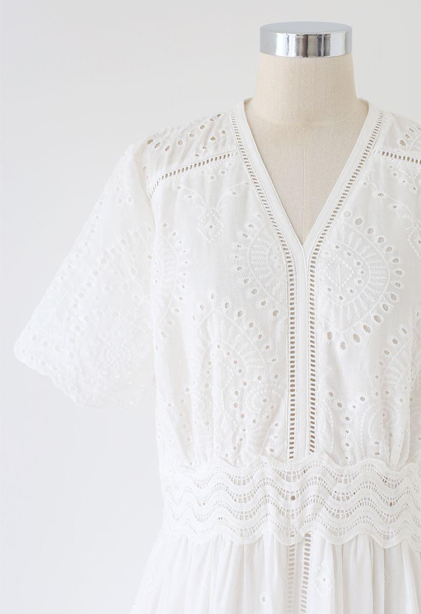 Diamond Embroidery Eyelet Frill Hem Dress in White