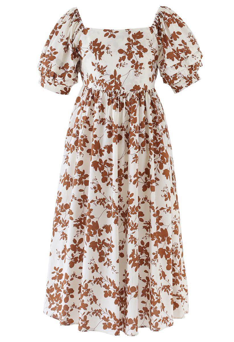 Foliage Print Open Back Midi Dress in Caramel