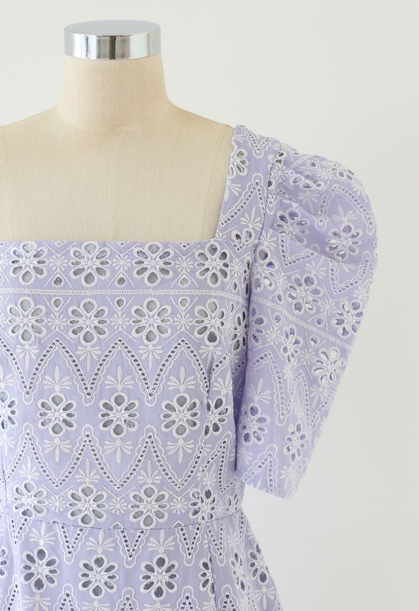 Zigzag Eyelet Floral Embroidered Square Neck Mini Dress in Lilac