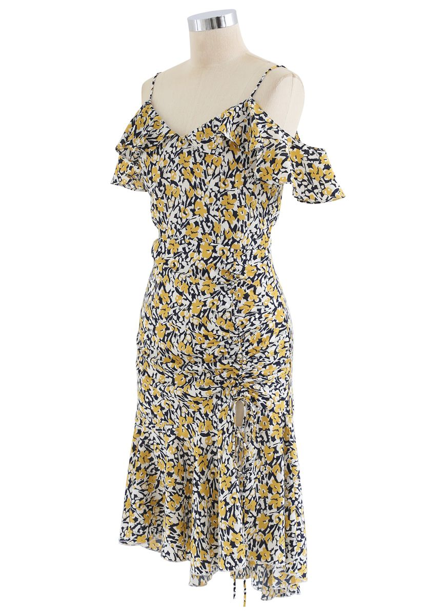 Cold-Shoulder Drawstring Yellow Posy Ruffle Dress