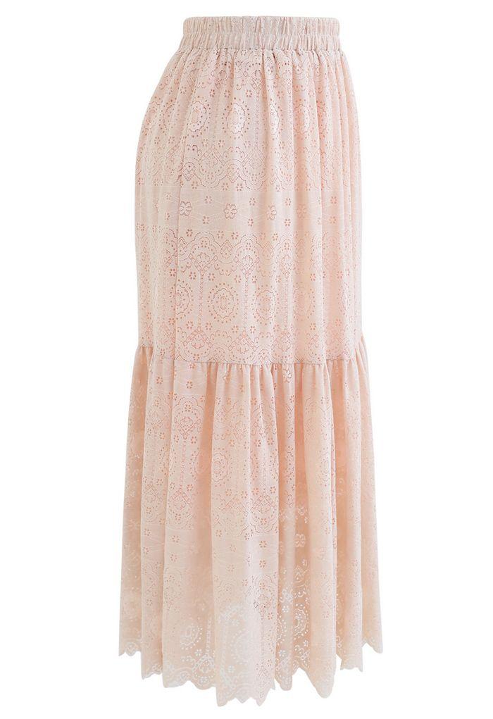 Frill Hem Full Floral Lace Midi Skirt in Peach