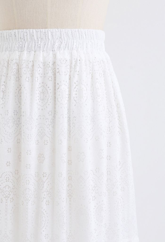Frill Hem Full Floral Lace Midi Skirt in White