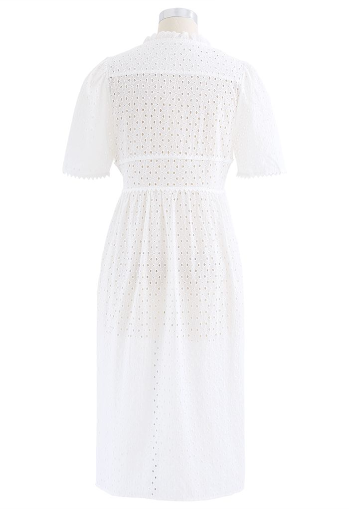Ruffle Embroidered Button Down Eyelet Dress in White
