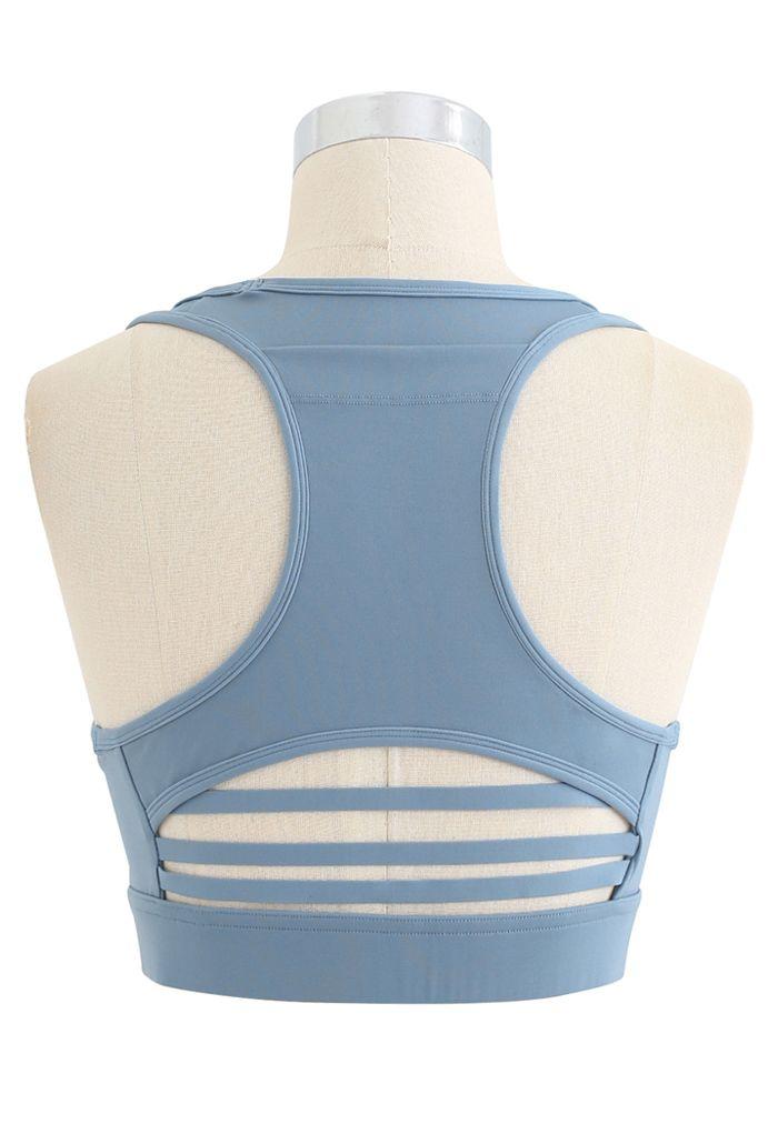 I-Shaped Back Pocket Mesh-Insert Low-Impact Sports Bra in Blue