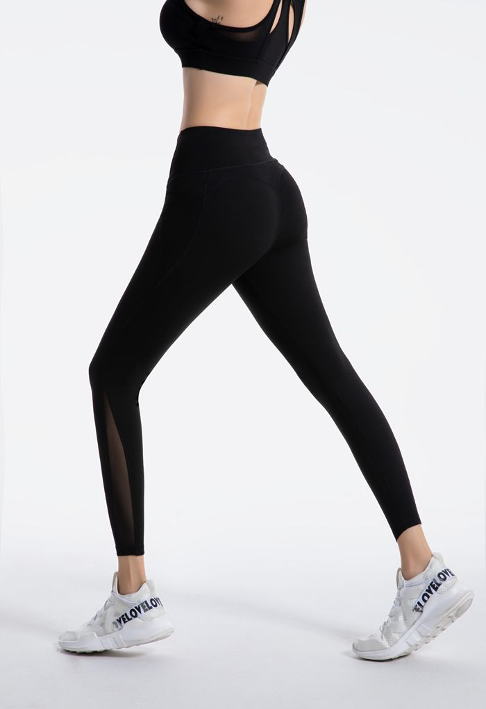Mesh Pockets High Rise Seam Detail Ankle-Length Leggings in Black