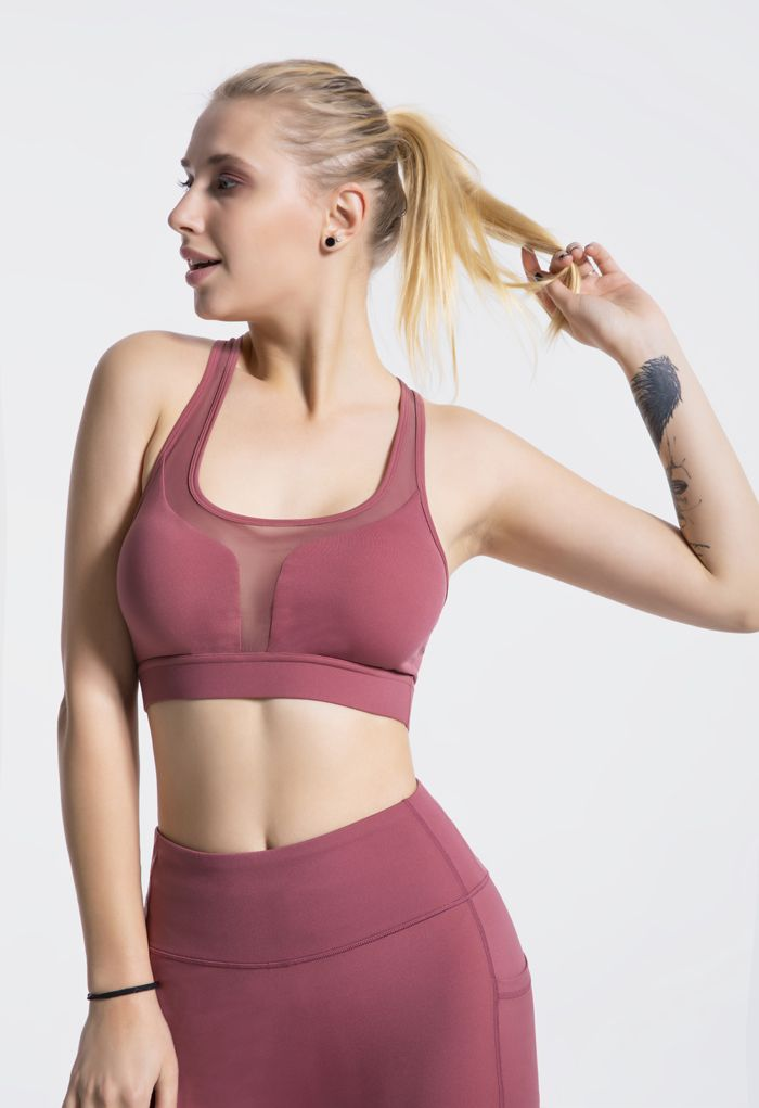I-Shaped Back Pocket Mesh-Insert Low-Impact Sports Bra in Rust Red