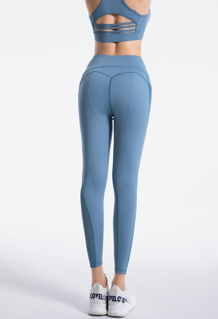 Mesh Pockets High Rise Seam Detail Ankle-Length Leggings in Blue