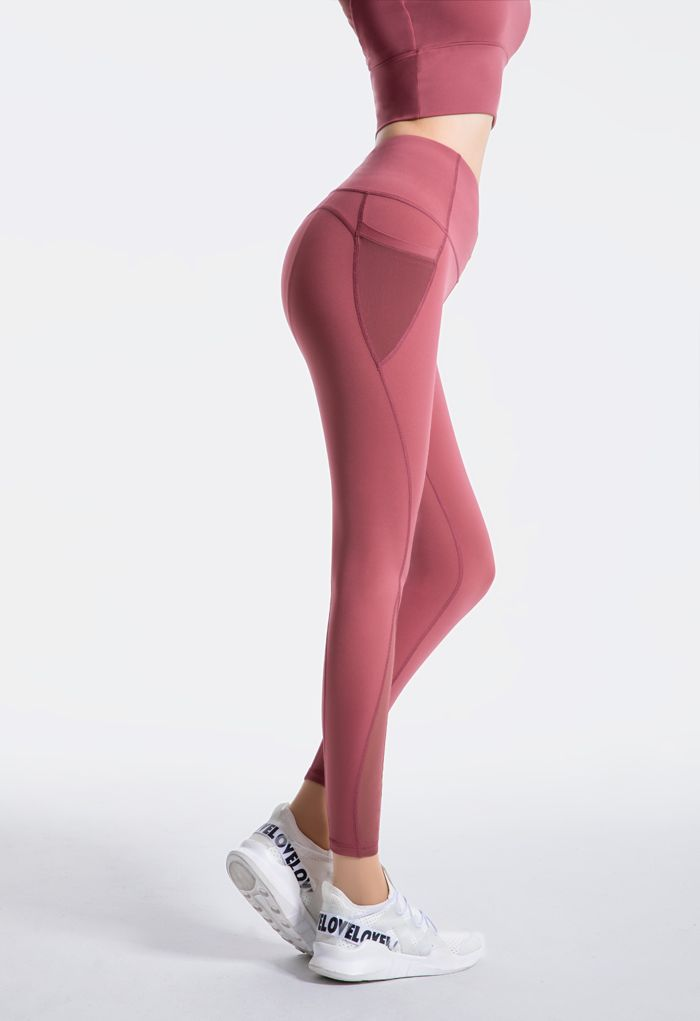 Mesh Pockets High Rise Seam Detail Ankle-Length Leggings in Rust Red