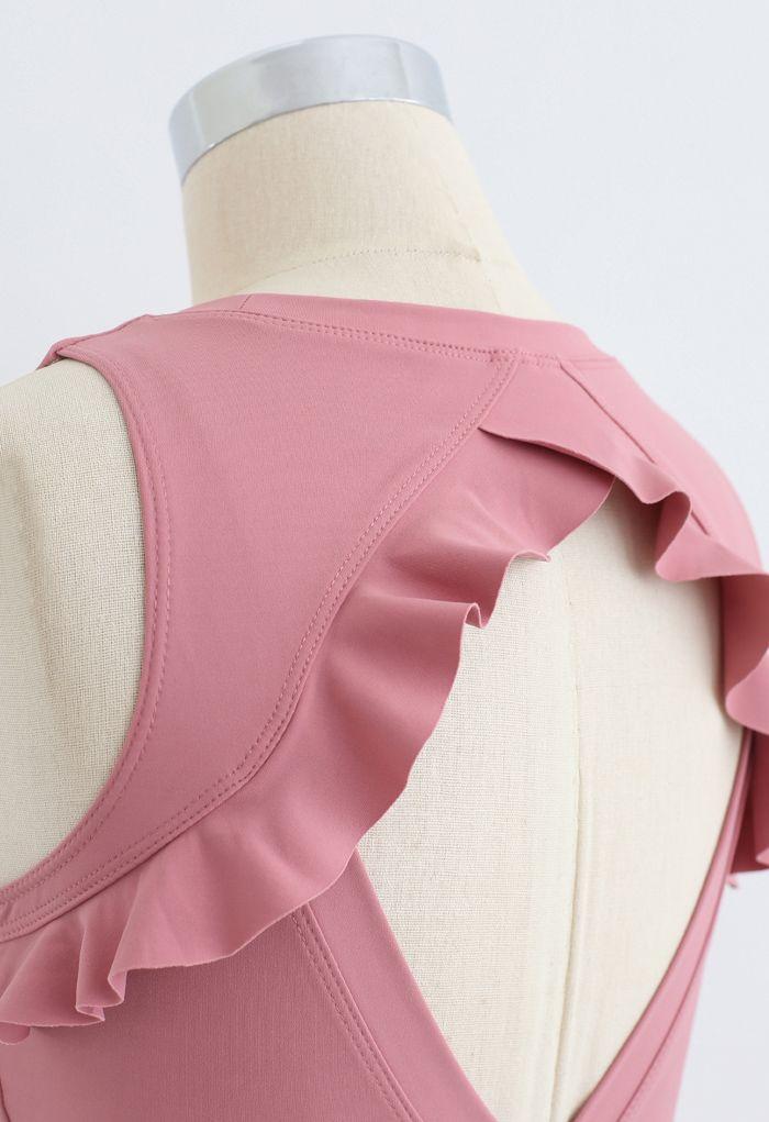 Ruffle Trim Cutout Back Medium-Impact Sports Bra in Pink