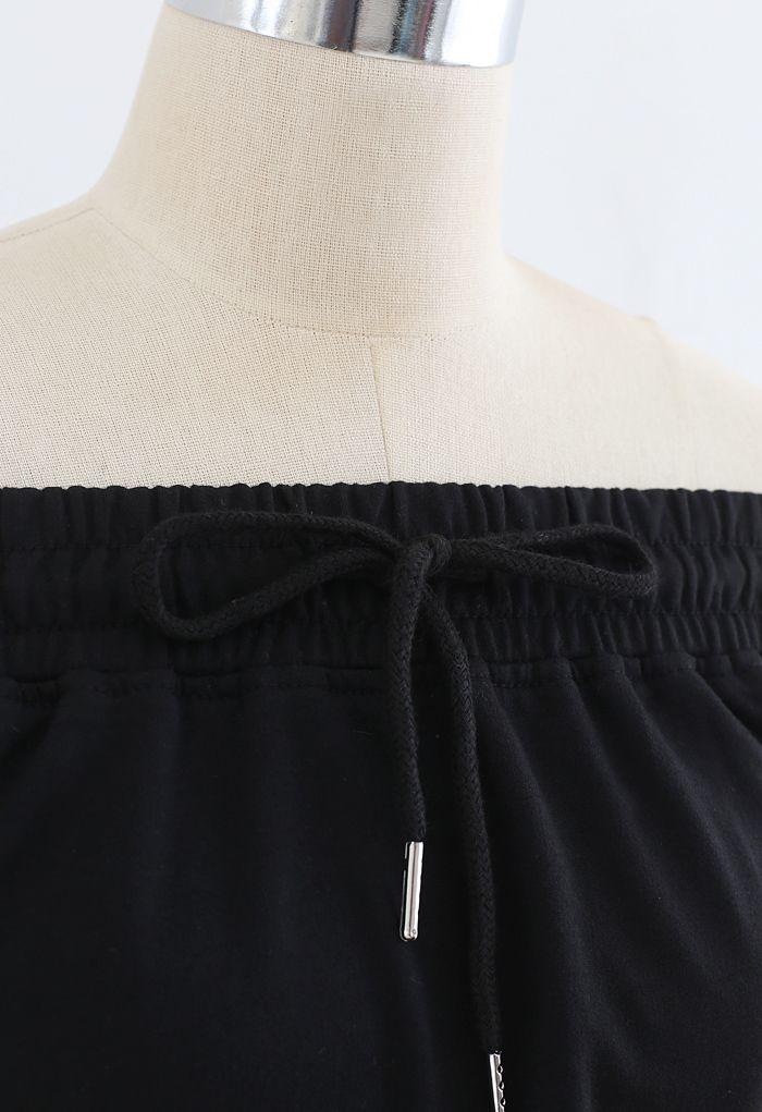 Drawstring Off-Shoulder Crop Top and Shorts Set in Black