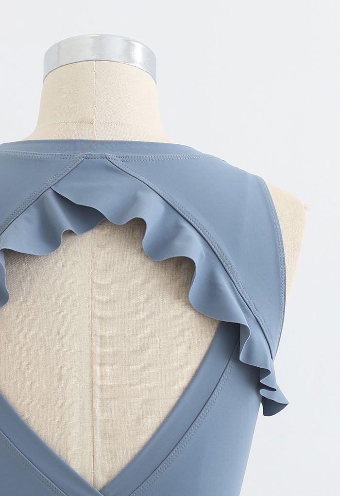 Ruffle Trim Cutout Back Medium-Impact Sports Bra in Blue