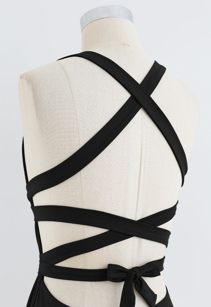 Deep V-Neck Lace-Up One-Piece Swimsuit in Black